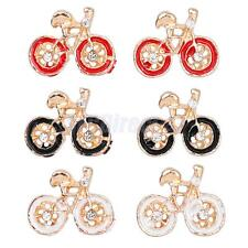 Fashion Cute Elegant Women Crystal Rhinestone Bicycle Earrings Ear Stud Jewelry