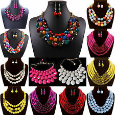 NT Fashion Jewelry Multilayer Beads Oil Chunky Choker Pendant Necklace Earrings