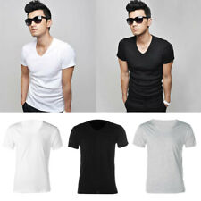 Fashion Man T Shirt Summer Tee Shirt V Neck Mens T Shirts Clothing Solid Clothes