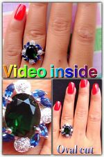 Green Diamond Ring Engagement & Wedding Engagement Ring St Silver F.925 NA16*
