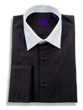 Mens Black Tonal Plaid With White Contrast Collar French Cuff Cotton Dress Shirt