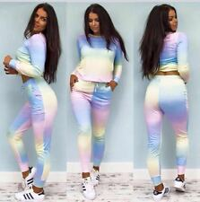 Women's Rainbow Tracksuit New Ladies Loungewear Set Jogging Suit Joggers Pants