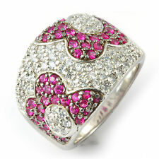 Round Cubic Zirconia Pink White Wedding Ring Anniversary Sterling Silver 925