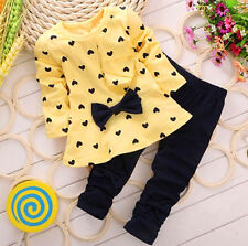 2pcs/set Little Girl Fall Spring Clothes Bowknot Coat + Pant Kid Clothes Outfits