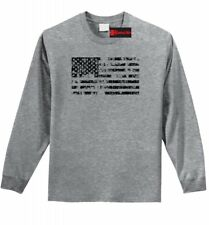 Distressed American Flag Long Sleeve T Shirt American Pride USA July 4th Tee Z1