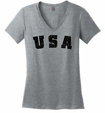 Distressed USA Ladies V-Neck T Shirt American Pride Patriotic Home Gift Tee Z5