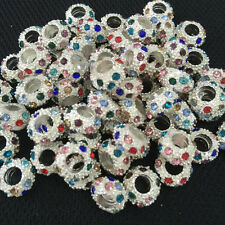 wholesales  Crystal Rhinestone Silver Spacer European Large Hole Charm Beads11mm