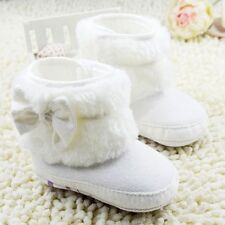 Baby Girl Soft Sole Boots First Shoes White Faux Fur Lined Crib Shoes 0-18Months