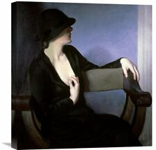 'Woman In Black' by Bernhard Gutmann Painting Print on Wrapped Canvas