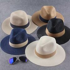 Women Men Fedora Straw Hat Pinched Summer Panama Hat Sun Beach Cap Unisex B2Q6