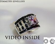 "AJW16*""Oval Cut Black/White Fine Jewelry Fine Rings Other Fine Ring St Silver"