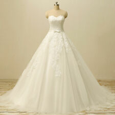 White Ivory Wedding Dresses With Long Train Formal Lace Bridal Gown Plus Size