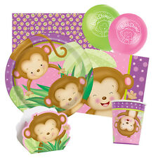 GIRL MONKEY Baby Shower Tableware & Decorations (Party/Napkins/Plates)