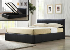 Ottoman Brown Faux Leather Storage Gas Lift Up Bed All Sizes with Mattress