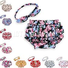 2PCS Baby Girl Flower Bow Headband+Pants Ruffle Bloomer Nappy Cover Pants Briefs