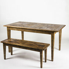 'Paddington' Solid Elm Timber Parquetry Top Dining Benches - Honey Brown Colour
