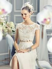 Cap Sleeve V Neck Chiffon White Ivory Wedding Dresses Lace Formal Bridal Dresses