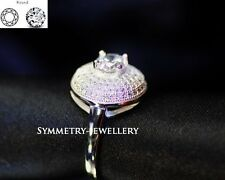 1.08 CT Round cut Diamond Solitaire Engagement Ring Solid In Sterling Silver