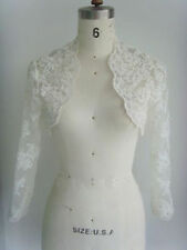 Ivory /White Satin 3/4 Sleeve Women's Coat Wedding Bridal Jacket Bolero shrug