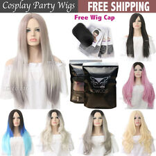 Womens Girls Long Curly Synthetic Hair Black Brown Wigs Ombre Grey Wig Costume
