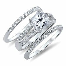 Women's 2.75 ctw PRINCESS CUT 925 Sterling Silver CZ Wedding Engagement Ring Set