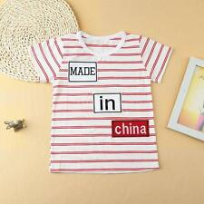 NEW Boys Baby Striped T-Shirt Short Sleeves Tops Tee Toddlers Kids Blouse I8T3