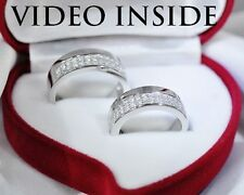 JWLY*1.6CT Engagement & Wedding Engagement Rings Diamond Bands Platinum Silver