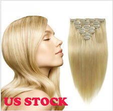 7 pcs set #613 Blonde 100% Real Hair Clip In Remy Human Hair Extensions US STOCK