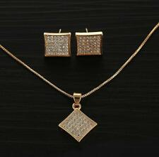 Wedding Womens 14k White&Yellow Gold Filled Pendant Chain Earrings Jewelry Sets