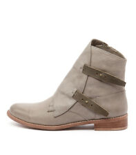 New Django & Juliette Jaspa Grey Leather/Charcoal Women Shoes Boots Ankle Boots