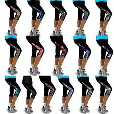 Women Sports Leggings Tights Yoga Pants High Waist Cropped Workout Trousers K7D5