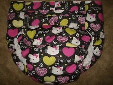 Dependeco All In One flannel adult baby diaper S/M/L/XL  (purrrfect kitty)