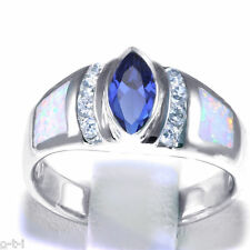 Blue Sapphire Marquise White Opal Simulated Diamond Sterling Silver Ring