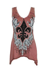 New Vocal Women Shark Bite Tunic Tank V-neck Western Crystal Roses Fleur De Lis