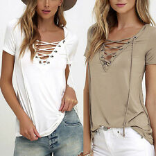Elegant Womens Sexy Loose Pullover T Shirt Short Sleeve Cotton Tops Shirt Blouse