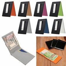 Stainless Silver Slim Money Clip Purse Mens PU Leather Wallet Credit Card Holder
