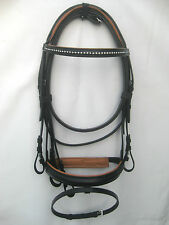 Snaffle leather bridle Black 1 row white diamonte straight browband Tan padding