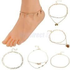 Women Sexy Simple Gold Plated Chain Charm Pendant Anklet Bracelet Foot Jewelry