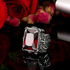 316L Stainless Steel Warrior Ring New Mens Jewelry Red Zircon Gem Size 7-13 R232