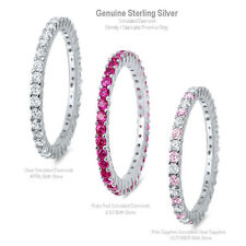 Simulated Diamond Eternity Stackable Promise Genuine Sterling Silver Ring