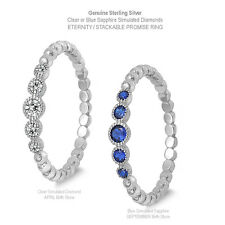 Simulated Blue Sapphire or Clear Diamond Eternity Genuine Sterling Silver Ring
