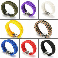 Multicolors Paracord Rope Outdoor Survival Bracelet Camping Steel Shackle Buckle