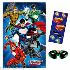 DC Comics JUSTICE LEAGUE Children's Birthday Place The Hero Logo Party Game