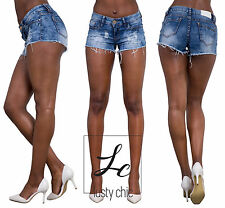 Sexy Women Ladies Summer Ripped Frayed Denim Shorts Jeans Hot Pants Size 6-14