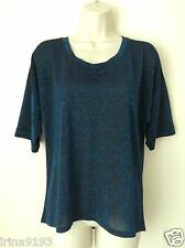 Next Women`s Ladies Metallic Blue Short Sleeve Top Size 12,14
