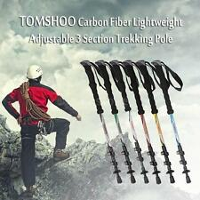 Carbon Fiber Trekking Pole Adjust Telescopic Hiking Walking Stick 3 Section Hot
