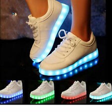 Unisex LED Light Luminous Shoes USB Charger Lace Up Sportswear Casual Sneaker IT