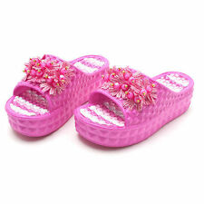 Womens Ladies Pink Summer Shoes 5cm High Platform Wedge Sandal Home Slippers