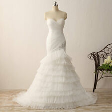 Women's White Wedding Dress Mermaid Bridal Dress Formal Strapless Pleat Gowns