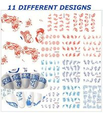 11 Design in 1 Chinese Classic Porcelain Water Transfer Nails Decals